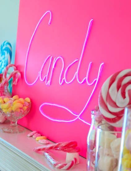 hot pink neon sign el wire project candy wedding party decor decoration (5)