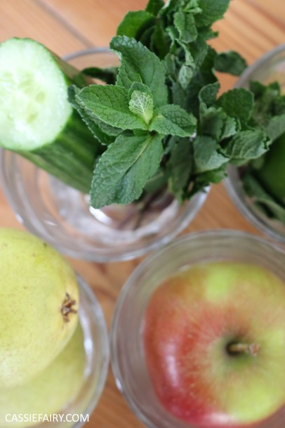 juicing herbs - juice recipe apple pear cucumber mint lime -4