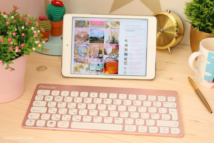 office desk with ipad showing blog homepage of cassiefairy.com