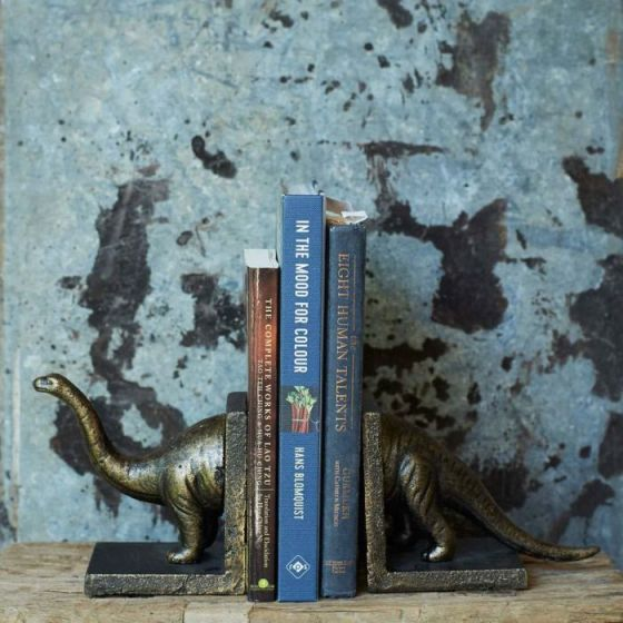 Dinosaur book ends in the shape of a brontosaurus