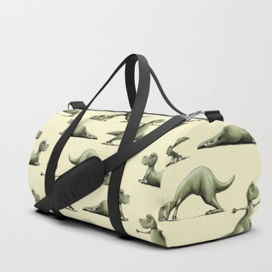 Gym bag with dinosaur pattern