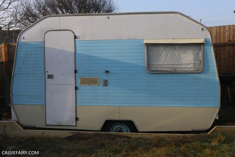 Pale blue vintage caravan