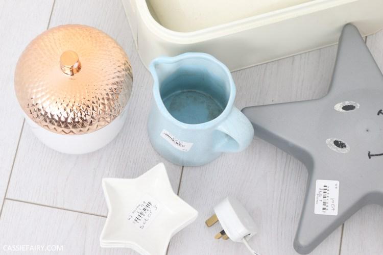 jug, acorn pot and star lamp before upcycling