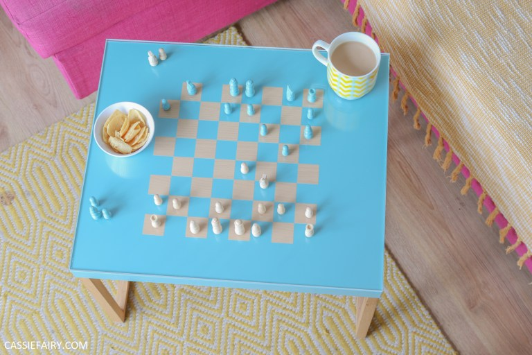 How To Upcycle An Old Side Table Into A Chess Board Coffee Table