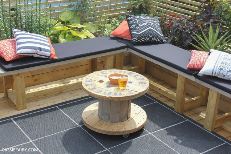 A Cable Reel Into An Outdoor, Wooden Wire Spool Coffee Table
