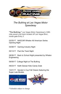 "CGR ""The Bullring"" at Las Vegas Motor Speedway Schedule 2017"