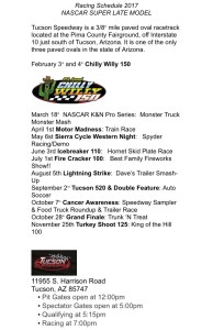 CGR NASCAR Whelen All American Super Late Model Schedule 2017