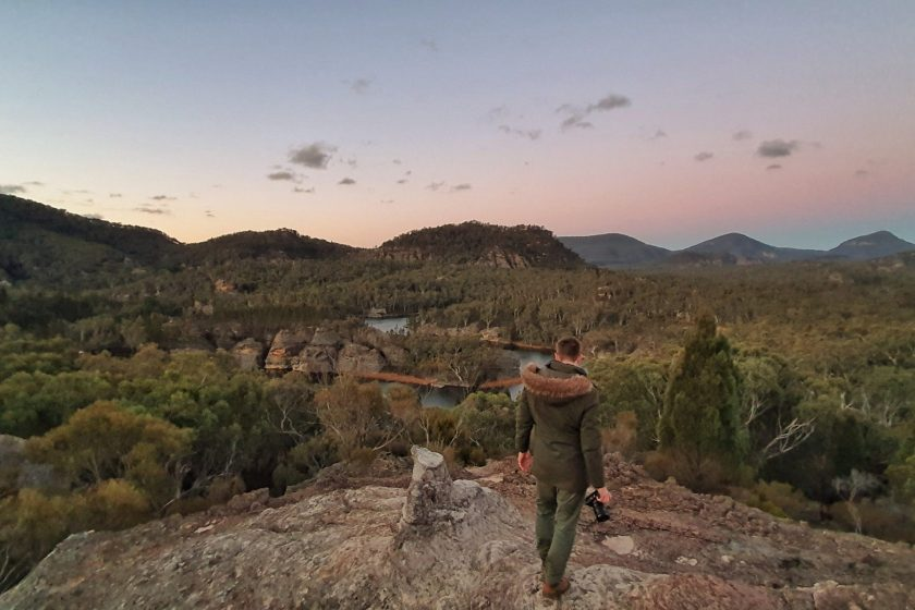 A man looks over the view at Pagoda Lookout in Wollemi National Park