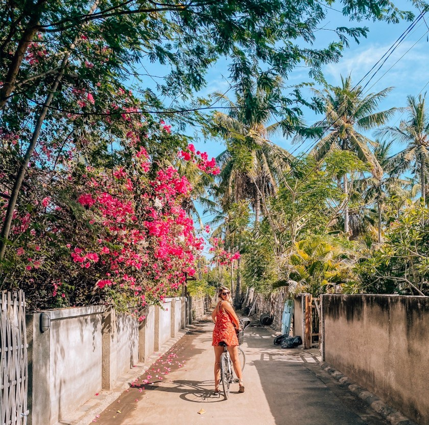 Ellie on a bike ride in Bali