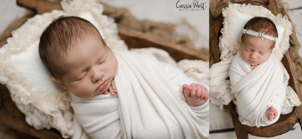 baby girl newborn photos in white