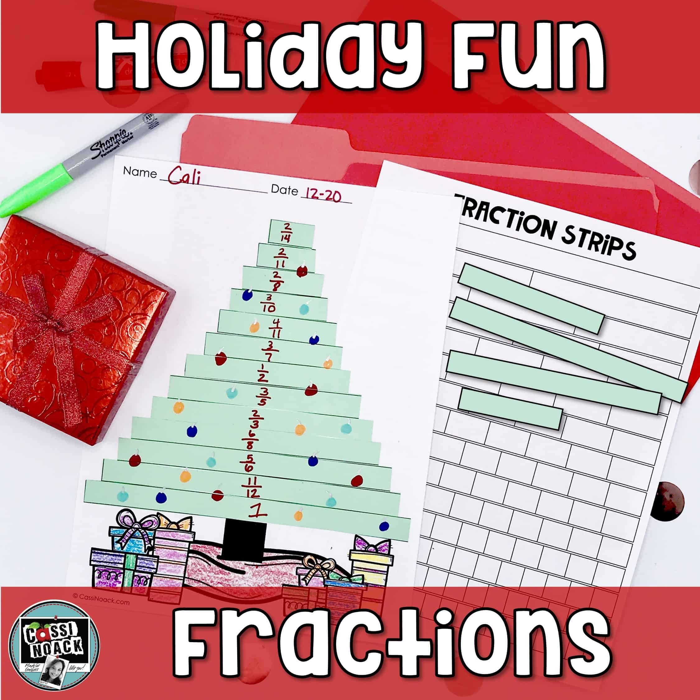 Christmas Tree Fraction Activity Plus Measure The Ribbon