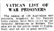 Vatican POW list SMH 28 July 1941 p7