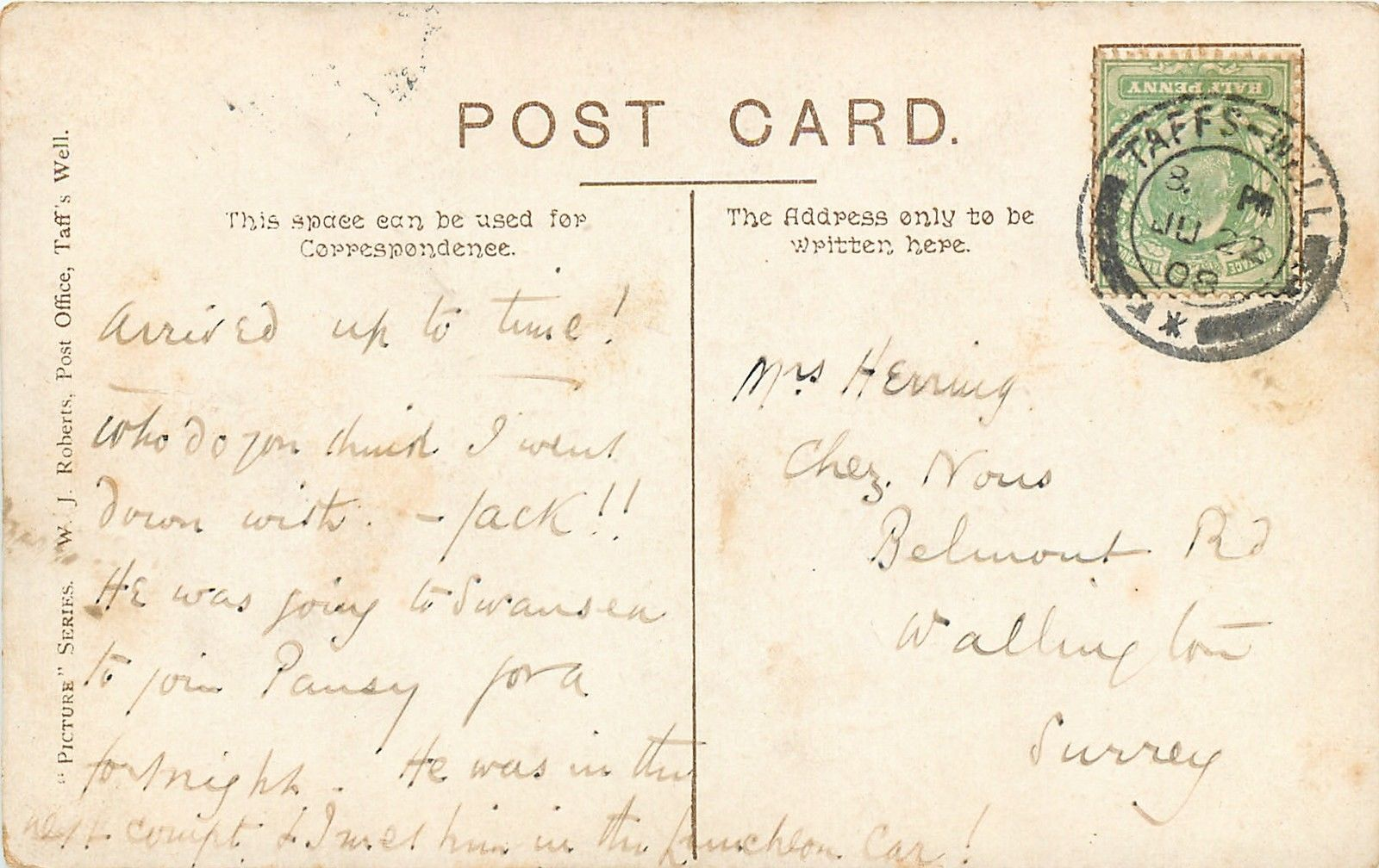 Reverse of postcard featuring Castell Coch
