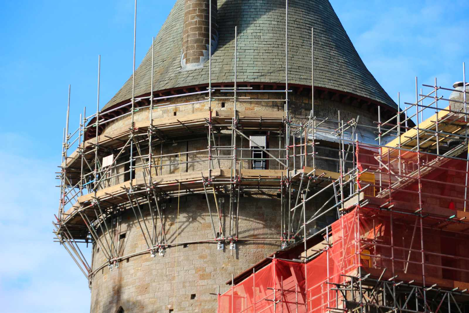 Close up of scaffolding on Castell Coch