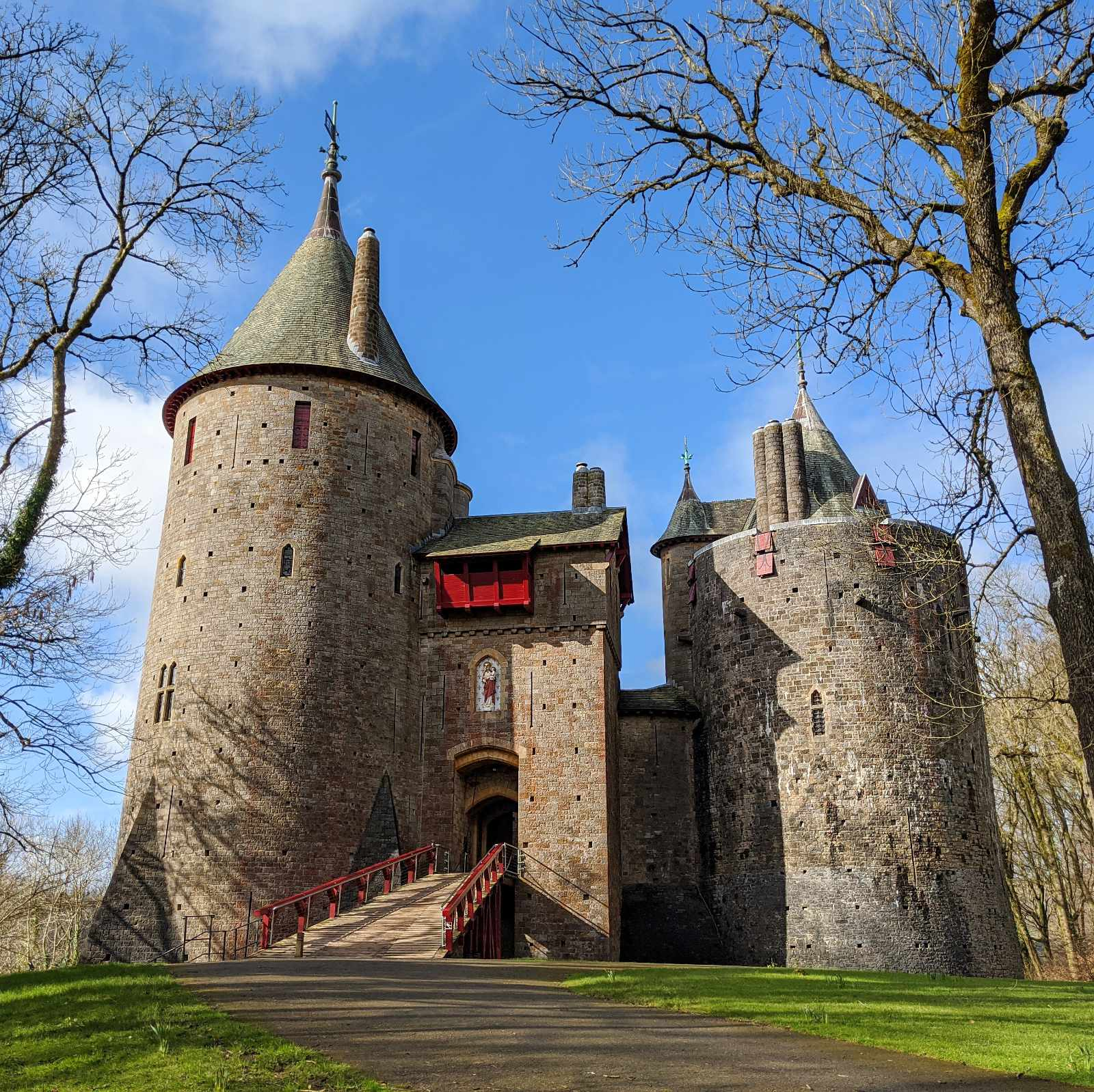 Castell Coch in winter with a blue sky