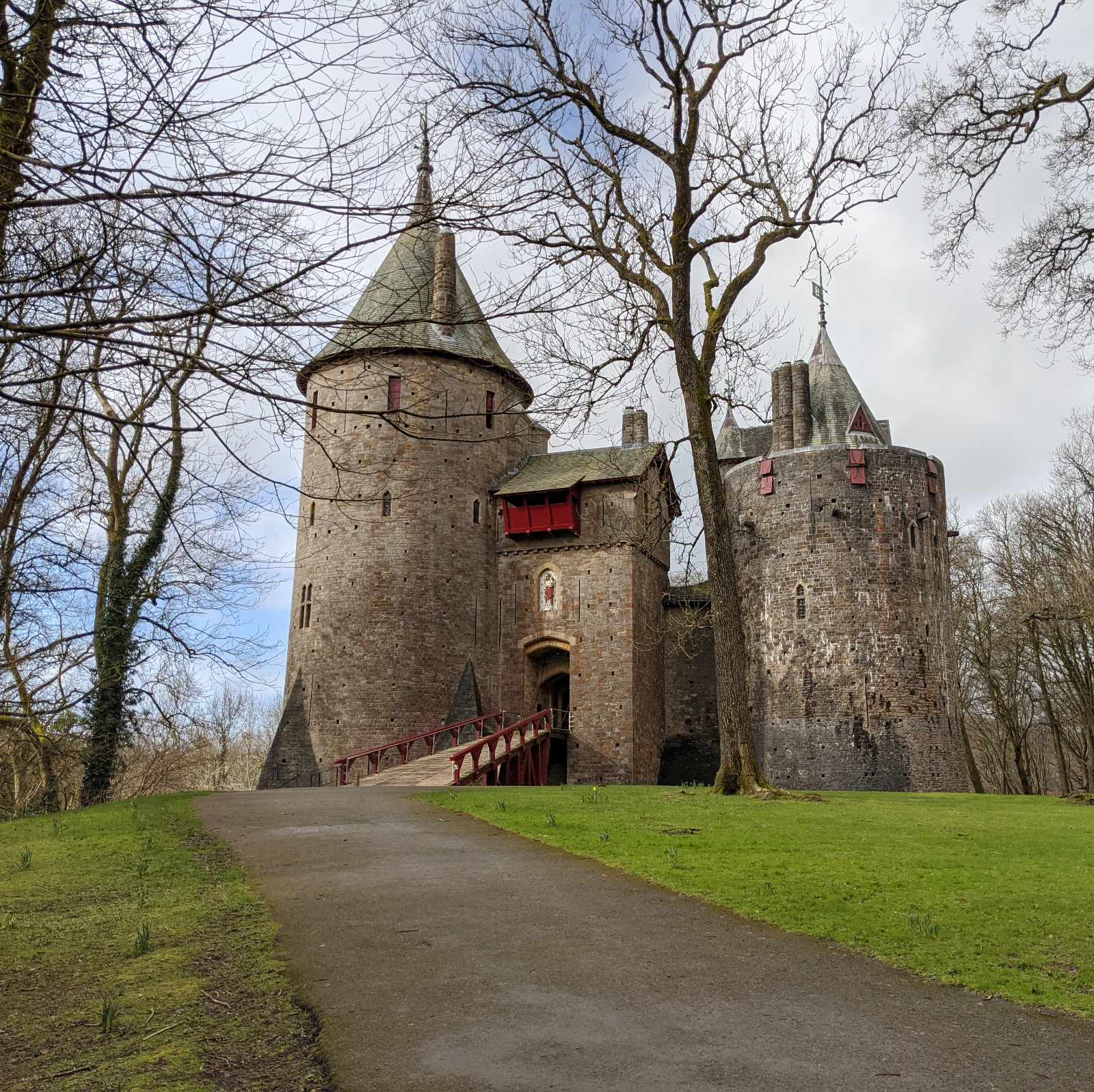 Castell Coch in winter with a cloudy sky