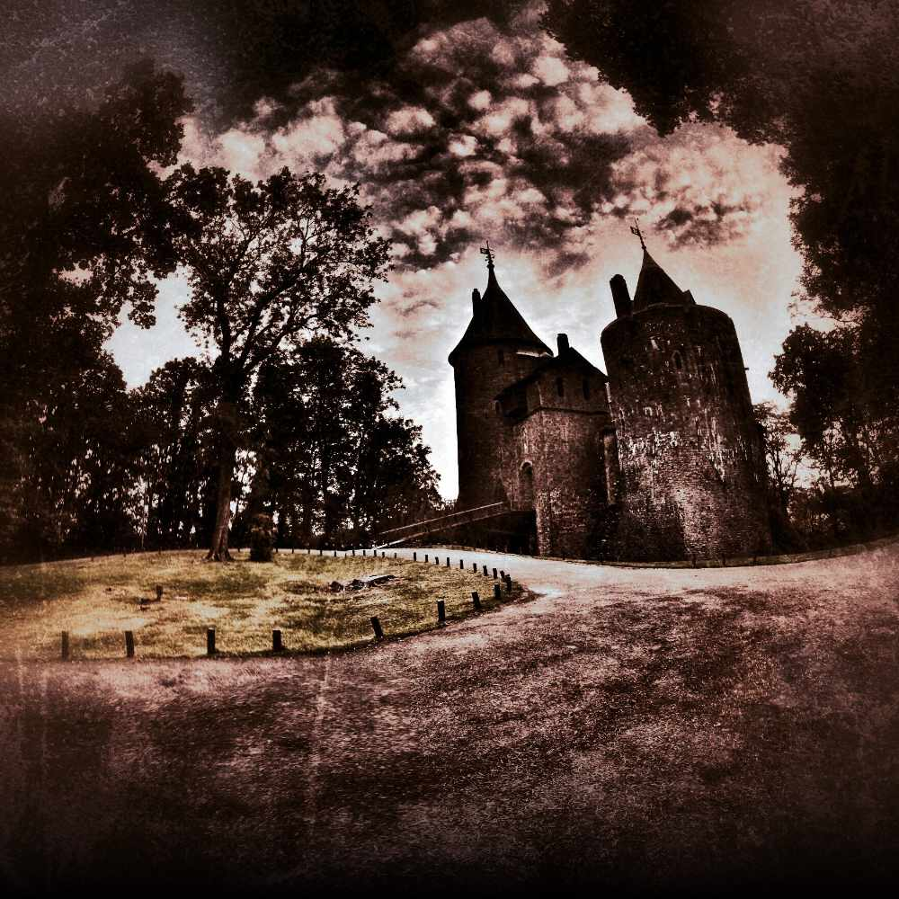 A dark and spooky edited photo of Castell Coch