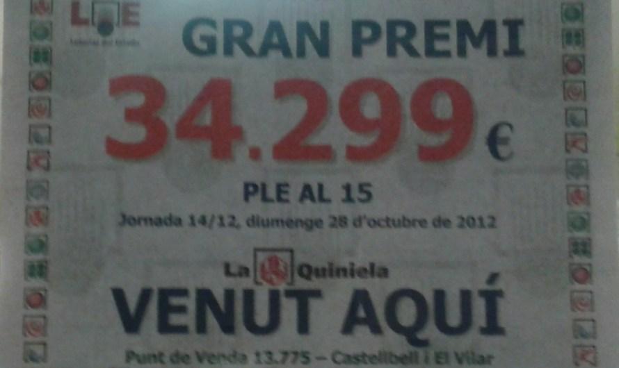 Validen un ple al 15 de la quinela a una administració de loteries de Castellbell i el Vilar