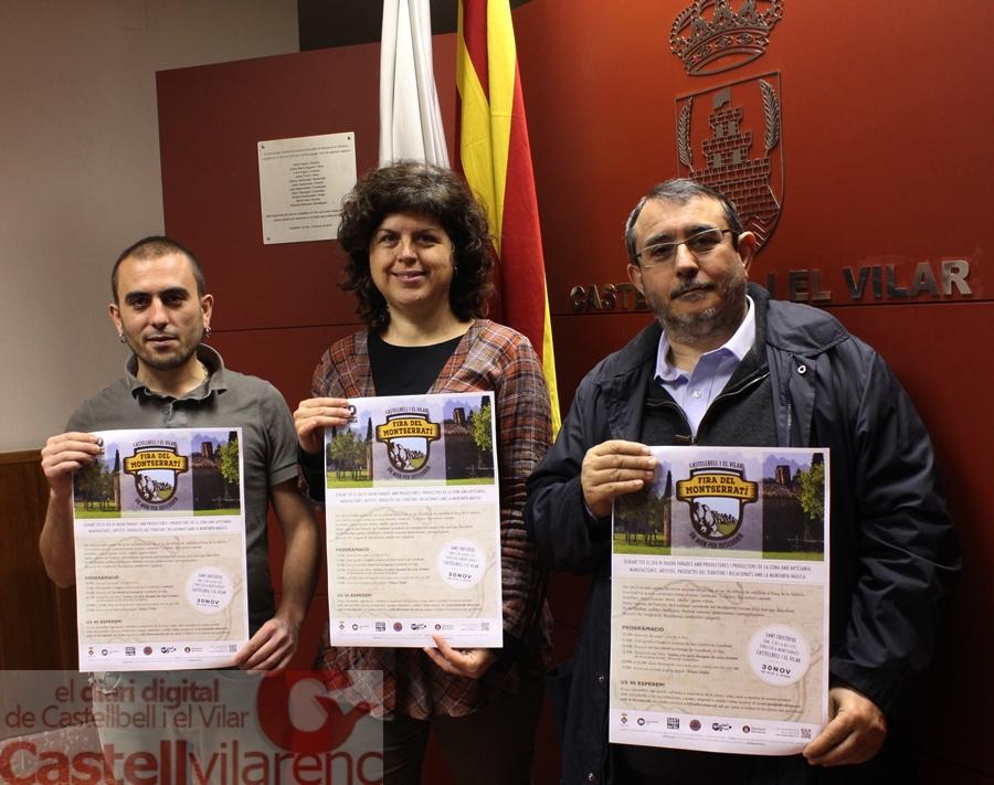 d'esquerra a dreta Àlex Bagant, responsable del portal Montserrati.cat, Montserrat Badia, alcaldessa de Castellbell i el Vilar, i Santi Llopart, de l'Associació Recreativa i Cultural de Sant Cristòfol ( Foto : Pere Sánchez )