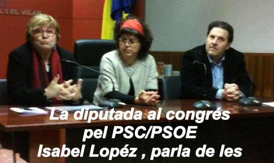 La diputada del congrés pel PSC/PSOE , Isabel Lopez, parla de les pensions a Castellbell i el Vilar.