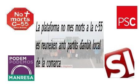 La plataforma no mes morts a la c-55 es reuneixen amb partits d´ambit local de la comarca