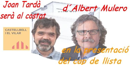 Joan Tardà serà al costat d'Albert Mulero en la presentació del cap de llista de erc a la alcaldia de Castellbell i el Vilar