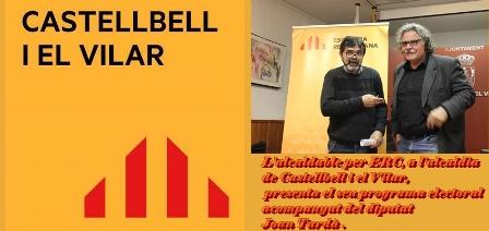 L'alcaldable per ERC, a l'alcaldia de Castellbell i el Vilar, presenta el seu programa electoral acompanyat del diputat Joan Tardà .
