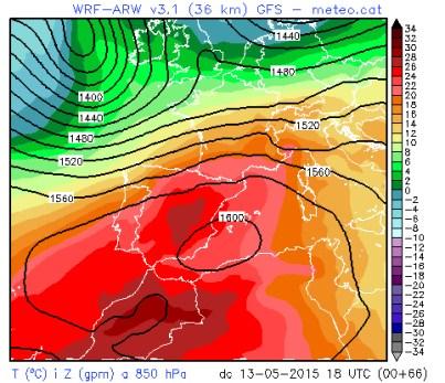 Mapa de Temperatures previstes per Dimecres .( Meteocat )