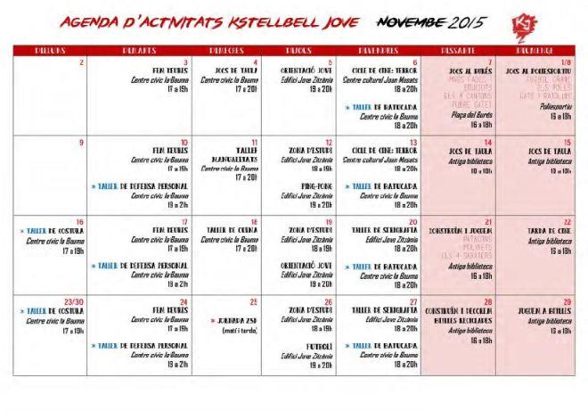 Calendari activitats Novembre