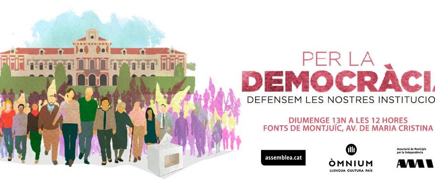 """Veïns de Castellbell i el Vilar presents a la concentració a Barcelona """"Per la democràcia, defensem les institucions"""""""