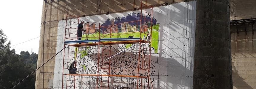 Castellbell i el Vilar pinta un gran mural de benvinguda