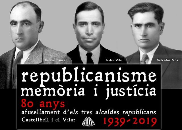 Castellbell i el Vilar ret homenatge divendres als tres alcaldes republicans afusellats pel franquisme l'any 1939
