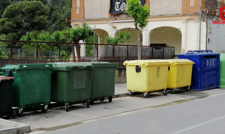 La brigada municipal, neteja els contenidors grafitats