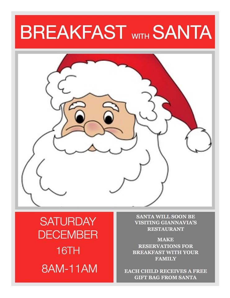 Breakfast with Santa at GiannaVia's Bar and Restaurant