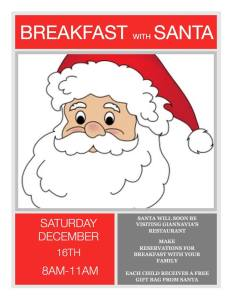Breakfast with Santa at GiannaVia's Bar and Restaurant