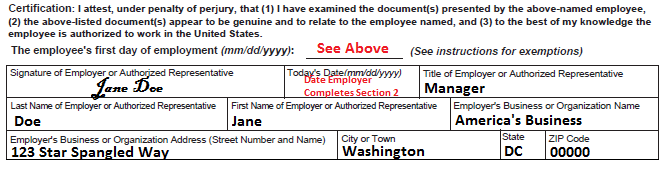 I9 Employee Eligibility Verification Example