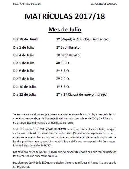 CALENDARIO MATRICULACIÓN 17-18