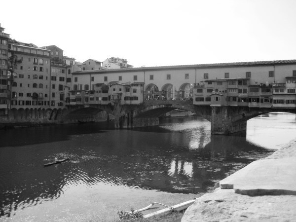 "The famous ""Ponte Vecchio hole"" in downtown Florence."
