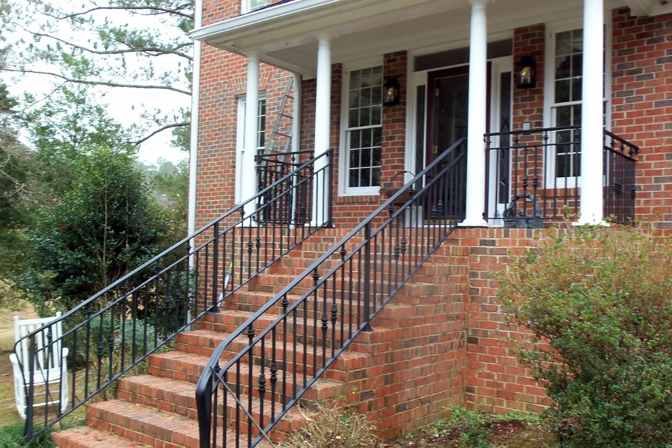 Improve The Value Of Your Home With Custom Iron Railings Cast   Railings For Brick Steps   Steel Handrail   Front Door   Staircase   Railing Ideas   Handrails
