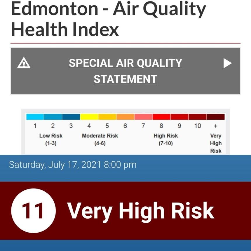 A screenshot of an Air Quality Index app.