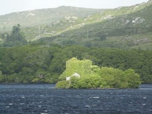 O'Flaherty Castle, Ballynahinch Lake, Galway, Ireland.