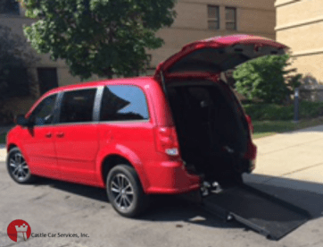 Castle Car Services, Inc. Red Van Rear Wheelchair Lift