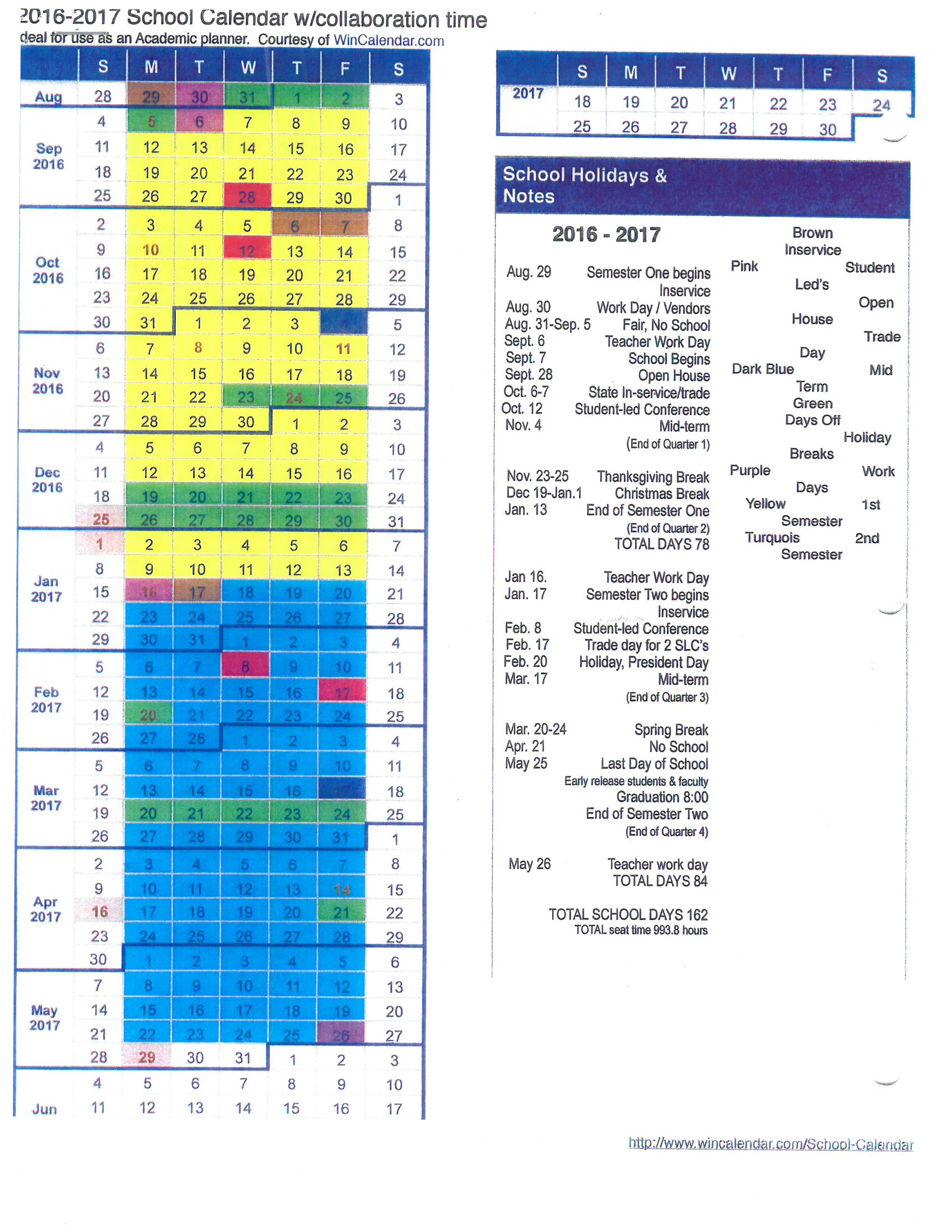 School Calendar Castleford School District