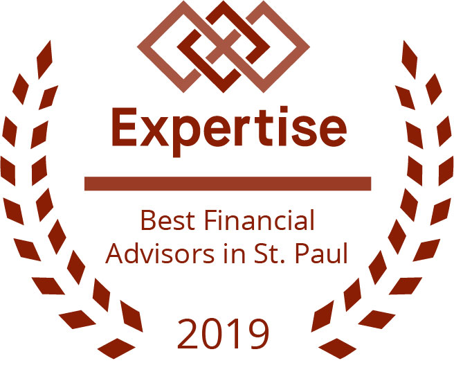 "laurels surrounding an award reading ""best financial advisors in St. Paul 2019"""