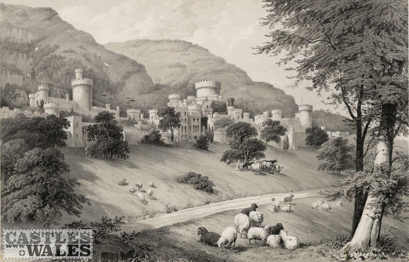 Engraving of Gwrych Castle, circa 1840