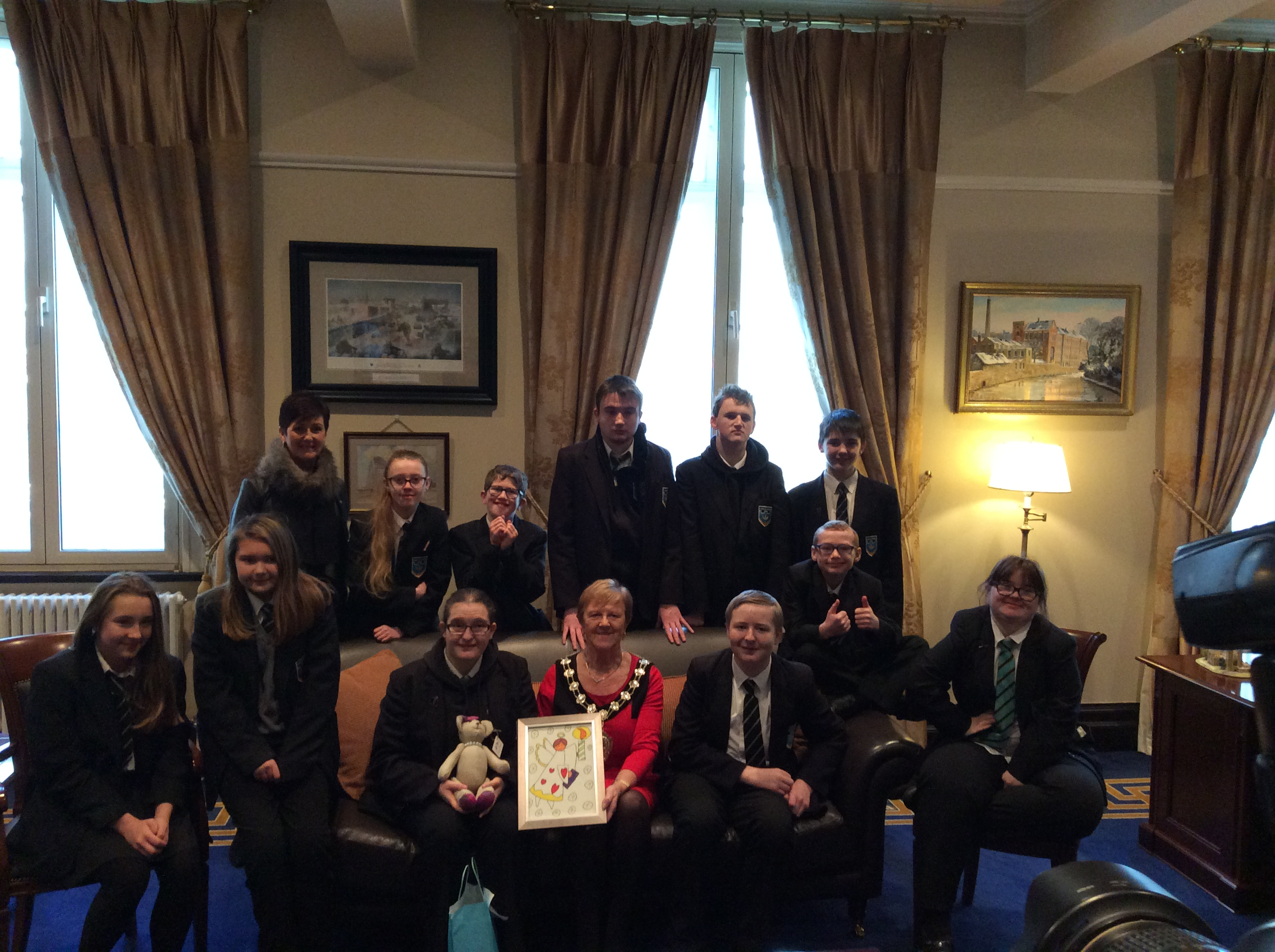 Ballymena Bear Helps Launch Boroughs Christmas Card