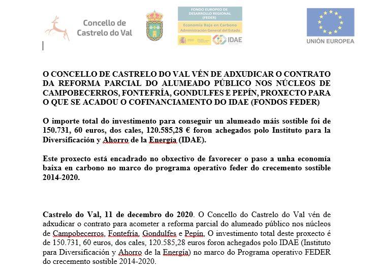 O Concello de Castrelo do Val vén de adxudicar o contrato da reforma parcial do alumeado público.