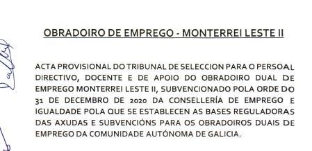 Puntuacións das entrevistas de selección para o persoal directivo, docente e de apoio do O.E. Monterrei Leste II
