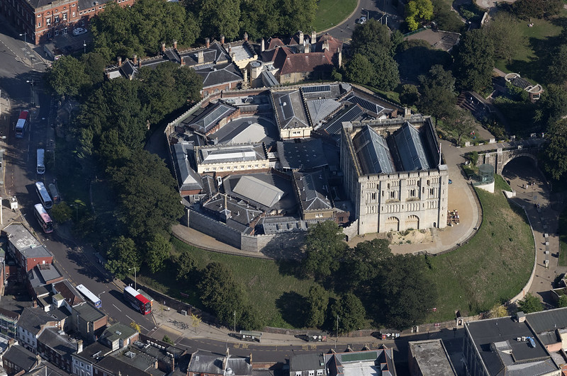 an aerial view of Norwich Castle