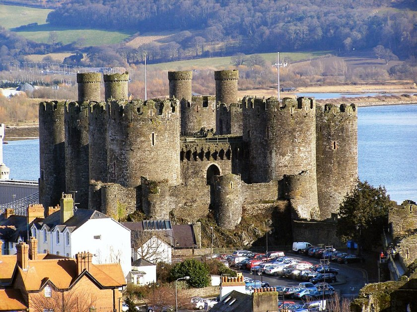 Conwy Castle and car park from Town Walls